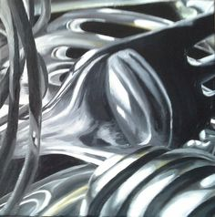 Jaime Cowdry. Painting 3 of 3 (of close up cutlery set). 18''x18'' October 2014