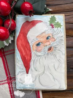 Handpainted large cookie Online Painting, Painting Techniques, Santa, Hand Painted, Cakes, This Or That Questions, Creative, Sweet, Paint Techniques
