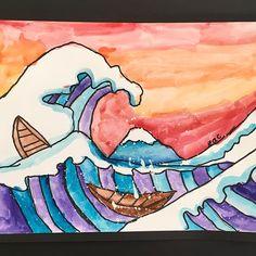 4th Grade's interpretation of The Great Wave. Got me dreaming of our big ol' beautiful ocean!! #sorryforsomanyposts #elementaryart #thegreatwave #hokusai #4thgradeart Lesson inspo from #deepspacesparkle
