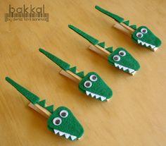 Reserved listing 5 crocodile shaped handmade felt by bakkal