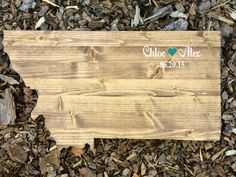 ** BRAND NEW ITEM **  What a beautiful keepsake to have from your wedding day! This beautiful wooden state shaped sign is constructed of genuine