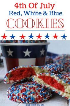 Bake these colorful Red, White & Blue Sprinkle Cookies for a fun and delicious  celebration treat. These homemade cookies are filled with a colorful red cookie middle layer with a sweet butter cookie covered in sprinkles that everyone loves. #SprinkleCookies #RedWhite&blueCookies #PatrioticDesserts #OneHotOven Delicious Cookie Recipes, Best Cookie Recipes, Best Dessert Recipes, Brownie Recipes, Yummy Food, Healthy Food, Blue Cookies, Sprinkle Cookies, Easy No Bake Desserts