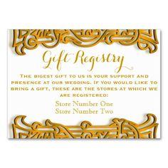 Irish Gold Monogram Wedding Gift Registry Card