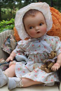 "Sweet 24"" Antique Vintage baby doll composition, Cloth, original dress."