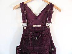 Vintage Purple Corduroy Bib Overalls .. Carpenter Pants Size Womens L