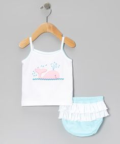 This Aqua Whale Pima Tank & Ruffle Diaper Cover - Infant by Albo Bebé is perfect! #zulilyfinds