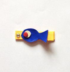 Barrette poisson bleu en cuir : Accessoires coiffure par croc-o-barrettes-et-compagnie