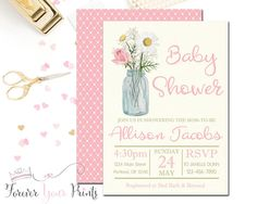 Floral Baby Shower Invitation Girl - Floral Invitation - Pink Floral Baby Shower - Girls Baby Sprinkle - Girls Baby Shower Invite - Daisies