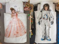 Cute idea but....very gender stereotyped. Why can't the girl be in the astronaut sheets? Why can't the boy be a prince if the girl is a princess ?