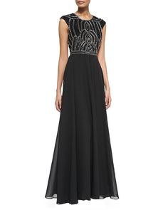 Cannes Cap-Sleeve Gown W/ Embellished Bodice, Black - Parker Black