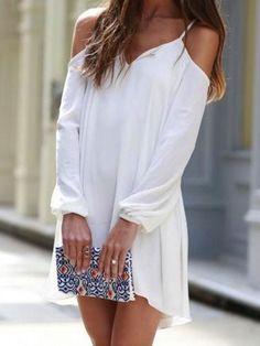 White, Cold Shoulder, V Neck, Asymmetric, Mini Dress