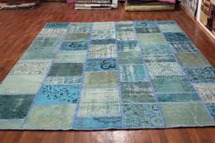 Overdyed Handmade Turkish Patchwork Carpet (Turquoise-Blue)  - Vintage Overdyed Turkish Rug- (254 X 325 cm)(8,3 ft X 10,6 ft)