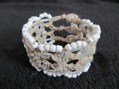 White Beaded Macrame Hemp Cuff Bracelet by TheHempChick on Etsy, $25.00