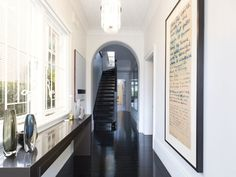 love the black japan floors Edwardian Hallway, Masculine Interior, Hereford, Residential Architecture, Stairs, Real Estate, Flooring, Street, Luxury