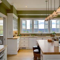 Green kitchen walls.