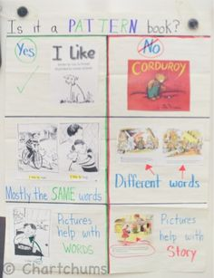 Using examples from the pattern books and story books the children have read increases the meaning the chart has for the kids involved.(LOVE LOVE)!!
