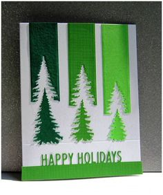 Forest by - Cards and Paper Crafts at Splitcoaststampers IO Evergreen Trees & Holiday Top Word Edgers Dies . Clever take on challenge! Homemade Christmas Cards, Christmas Cards To Make, Homemade Cards, Christmas Crafts, Cricut Christmas Cards, Christmas Movies, Happy Holidays Cards, Paper Christmas Trees, Christmas 2019