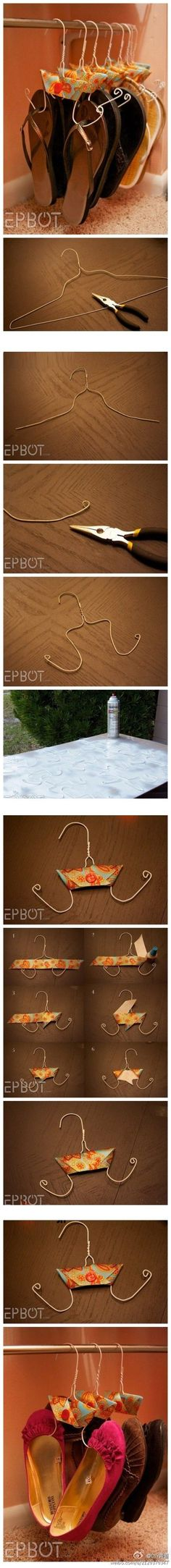 Clothes Hangers into shoe hangers and 30 other DIY ideas