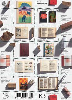 Year of the Book - Netherlands Stamps. via https://www.finebooksmagazine.com/fine_books_blog/2016/09/netherlands-post-office-issues-year-of-the-book-stamps.phtml