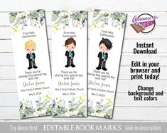 Boy First Communion Bookmark Boys First Communion, First Communion Favors, You Used Me, School Colors, Special Promotion, Single Image, Text Color, Invitations, Day