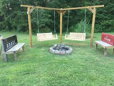 Double swing and tailgate benches around our fire pit.