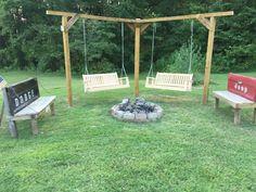 Best Fire Pit Design Ideas for Backyard – - Feuerstelle im Garten Backyard Swings, Fire Pit Backyard, Pergola Patio, Backyard Landscaping, Gazebo, Backyard Ideas, Pergola Ideas, Cheap Pergola, Firepit Ideas