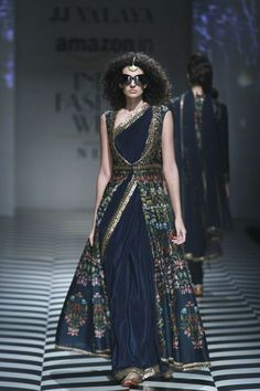 26 best Ideas for fashion week 2018 runway india Saree Gown, Lehenga Choli, Anarkali, Blue Lehenga, Green Saree, Sabyasachi, Georgette Sarees, Churidar, Saree Draping Styles