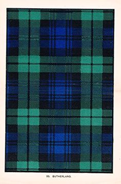 "Johnston's Scottish Tartans - ""SUTHERLAND"" - Chromolithograph - c1899"