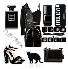 """Outfit Black"" by sophiebenson16 on Polyvore featuring Boohoo, Yves Saint Laurent, Racil, Givenchy, 157+173 designers, Chanel and Fallon"