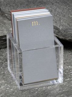 simple initial notes in acrylic holder   75 assorted cards/white envelopes, available in lucite. Cube size is 3¼ x 3¼ x 3¼ and the note size is 3 x 5¼.