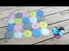 Pastilles fleurs pour couverture tapis crochet / Flowers for blanket or . Lidia Crochet Tricot, Crochet Granny, Knitting Patterns, Crochet Patterns, Crochet Brooch, Crochet For Beginners, Knitted Bags, Crochet Flowers, Diy Crafts