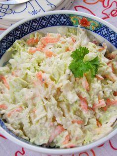 Sio-smutki: Chinese cabbage salad with horseradish sauce - surówki, sałatki -. B Food, Food Porn, Chinese Cabbage Salad, Cooking Recipes, Healthy Recipes, Side Salad, Food Dishes, Salad Recipes, Food To Make
