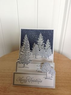Stampin Up center step Christmas card -snowy winter evening. $4.00, via Etsy.