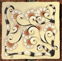 "Diva Challenge #178 ""Duotangle by the Letter!""   patterns: henna drum, btl joos"