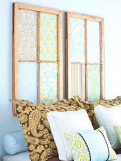Headboard idea made with windows  (minus the glass) lined with material or scrapbook paper decor of your choice (inspiration only)