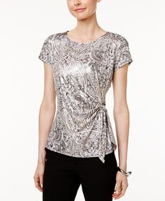 A versatile desk-to-dinner style, Msk's faux-wrap top is cast in a shimmering paisley print that really stands out. | Polyester | Hand wash | Made in USA | Scoop neckline | Pullover styling  | Short s