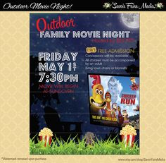 Outdoor Movie Night Flyer / Movie on the Green Poster / Template Church School Community Lawn Cinema Flyer Invitation / Fundraiser Poster
