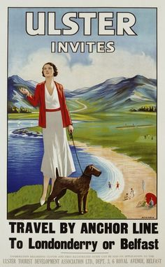 """Old vintage travel / tourism poster for Northern Ireland / Ulster. Posters Uk, Train Posters, Railway Posters, Online Posters, Illustrations And Posters, Beach Posters, Vintage Illustrations, British Travel, British Seaside"