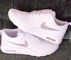 Swarovski Crystal Shoes 2015 Crystal Swoosh Nike Air Max Thea All White