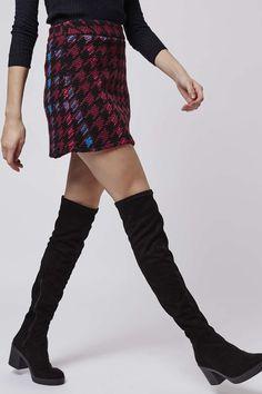 Photo 3 of PETITE High-Waisted Check A-Line Skirt