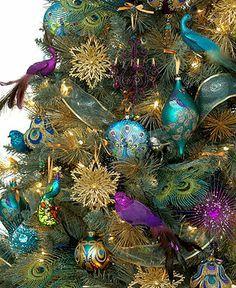 Love the colors //// Holiday Lane Christmas Ornaments, Regal Peacock Tree Theme - Christmas Tree Themes - Holiday Lane - Macy's Peacock Christmas Decorations, Peacock Christmas Tree, Turquoise Christmas, Bohemian Christmas, Beautiful Christmas Trees, Christmas Tree Themes, Blue Christmas, Christmas Colors, Xmas Tree
