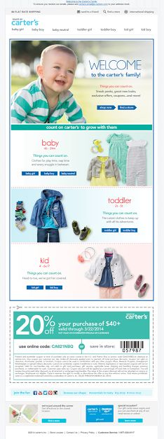 Carter's | welcome | WelcomeEmails | emailmarketing | email | newsletter | welcome newsletter | welcome email | WelcomeEmail | relationship emails | emailDesign