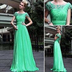 Green Lace Sleeve Chiffon Evening Prom Bridesmaid Ball Wedding Gown Maxi Dress | eBay