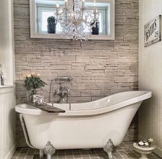 Clawfoot tub in a home is a dream for me! Dream Bathrooms, Beautiful Bathrooms, Romantic Bathrooms, Small Bathrooms, Bathroom Renos, Clawfoot Tub Bathroom, Washroom, Bathroom Inspiration, My Dream Home