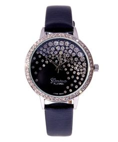 This Black & White Crystal Faux Leather-Strap Watch is perfect! #zulilyfinds