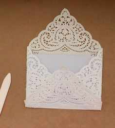 123-5 Bergere Chair: Basic Paper Doily Envelope Liner for Wedding Invitations