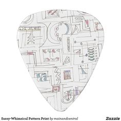 Sassy-Guitar Pick with Whimsical Abstract Pattern