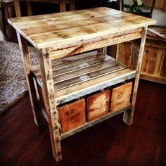Cute pallet kitchen island. We used old vintage half bushel fruit crates for drawers. Check us out at facebook.com/PalletLifeAustralia