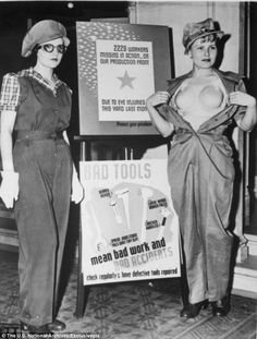 Safety at work: Two women show off a new uniform - including a plastic bra - designed to help prevent occupational accidents among female war workers in Los Angeles in 1943