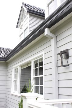 Cladding & colours - Roof gutters and fascia- Monument Weatherboard- Milton Moon Vivid White trims. Black gutters and roof is nice Weatherboard Exterior, Colorbond Roof, Grey Exterior, Exterior Cladding, House Paint Exterior, Exterior Design, Vinyl Cladding, Wall Cladding, Exterior Color Schemes